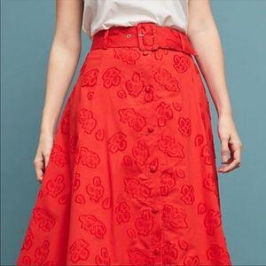 Maeve Sandra Red Belted Long Skirt 00P